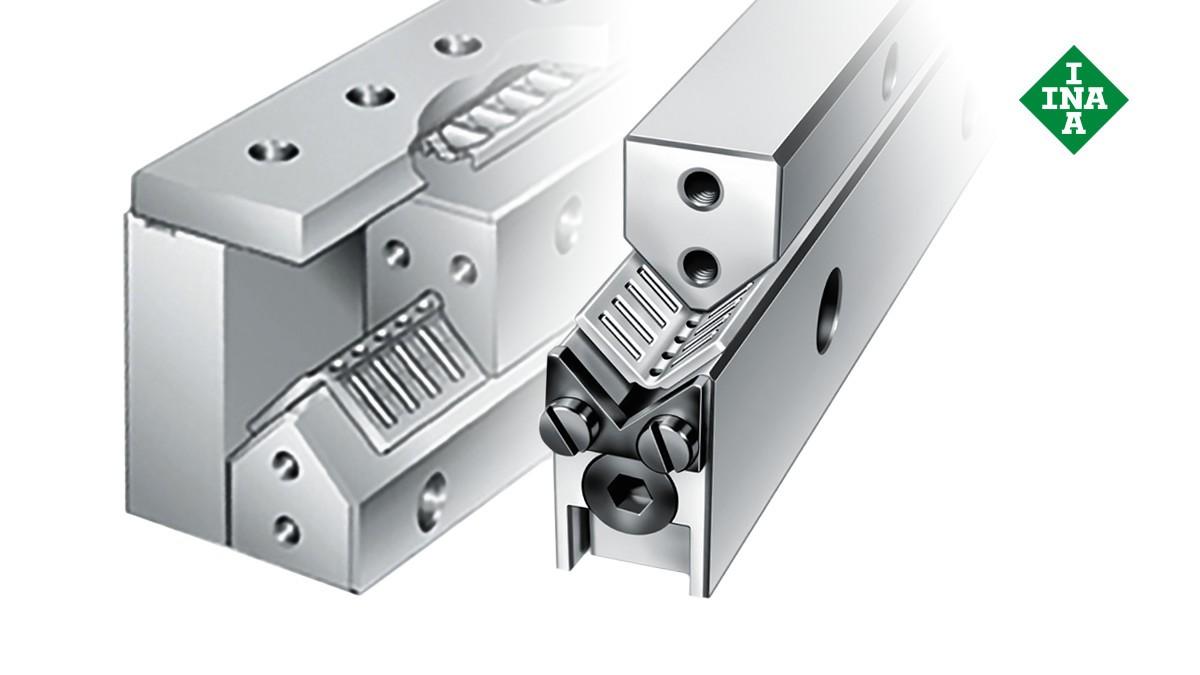 Schaeffler lineærføringer: M-/V-styreskinner med blokkeringskile og vinkelbånd